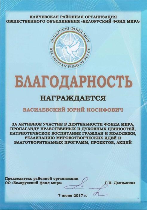 Благодарность директору Василевскому